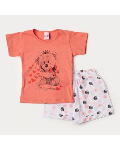 Conjunto Infantil Feminino de Verão Blusa Salmão Urso e Short Branco com Bolinhas