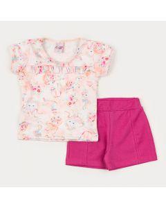 Conjunto Curto para Menina Blusa Rosa Sereia e Short em Cotton Pink