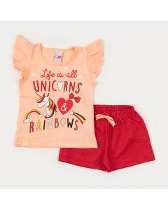 Conjunto Blusa Salmão Unicórnio e Short Vermelho para Menina
