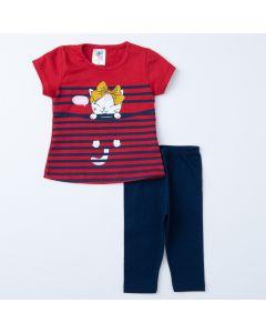 Conjunto de Verão Bebê Menina Blusa Vermelha Gatinho e Legging Marinho
