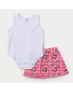 Conjunto de Verão Infantil Feminino Body Branco e Saia Rosa Floral