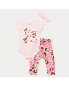 Conjunto de Verão Bebê Menina Body Rosa Calça Saruel Bailarina com Faixa de Cabelo