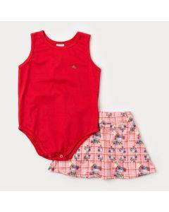 Conjunto de Verão Infantil Feminino Body Vermelho e Saia Salmão Floral