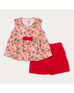 Conjunto para Menina Regata Salmão Floral e Short Vermelho