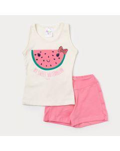 Conjunto de Roupa de Verão com Short Rosa e Regata Marfim Estampada para Meninas