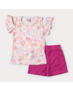 Conjunto de Verão Infantil Feminino Blusa Rosa Sereia e Short Pink