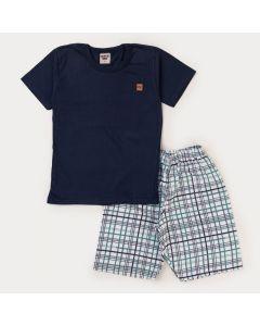 Conjunto de Verão para Menino Blusa Marinho e Short Xadrez Verde
