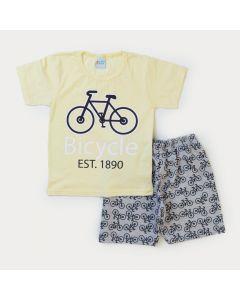 Conjunto Verão Menino Blusa Amarela Bicicleta e Bermuda Cinza Moletinho