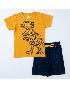 Conjunto de Verão Infantil Masculino Blusa Amarela Dino e Short Marinho