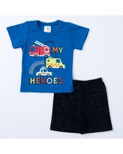 Conjunto Curto para Bebê Menino Blusa Azul Estampada e Short Preto