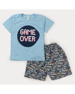 Conjunto Curto com Blusa Azul Game para Menino e Bermuda Estampada