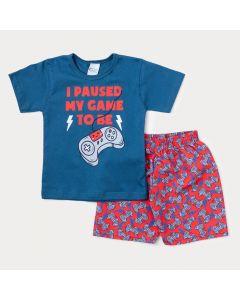 Conjunto de Verão para Menino Blusa Azul Game e Bermuda Vermelha Estampada