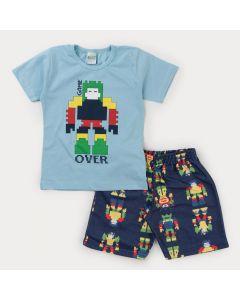 Conjunto de Verão para Menino Blusa Azul Robô e Bermuda Marinho Estampada