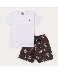 Conjunto Curto Infantil Masculino Blusa Branca e Short Preto Abacate