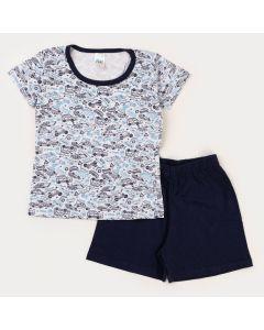 Pijama Curto para Menino Blusa Branca Carros e Bermuda Marinho