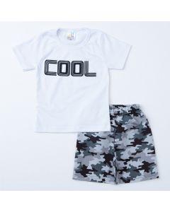 Conjunto de Verão para Menino Blusa Branca Estampada e Short Cinza Militar