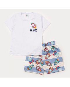 Conjunto de Verão Infantil Menino Blusa Branca e Bermuda Azul Estampado Foguete