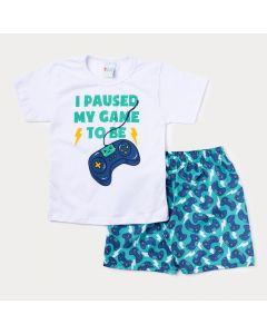 Conjunto de Verão para Menino Blusa Branca Game e Bermuda Azul Estampada