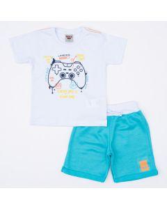 Conjunto Curto para Menino Blusa Branca Game e Short Verde