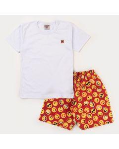 Conjunto Curto Blusa Branca e Short Laranja Emoji Infantil Masculino