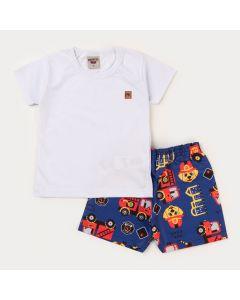Conjunto Curto Infantil Menino Blusa Branca e Short Marinho Bombeiro