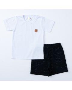 Conjunto de Verão Menino Blusa Branca Básica e Short Preto