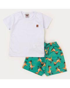Conjunto Verão Infantil Menino Blusa Branca e Short Verde Dino Bicicleta