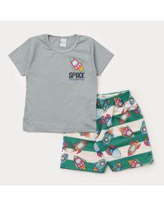 Conjunto de Verão Infantil Menino Foguete Blusa Cinza e Bermuda Listrada Verde