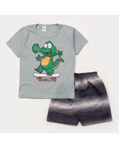 Conjunto Verão Infantil Masculino Blusa Cinza Jacaré e Bermuda Preta Estampada