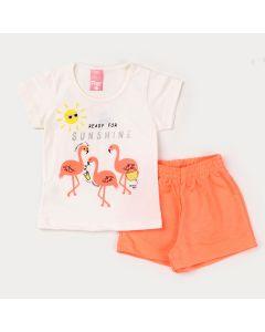 Conjunto de Verão Menina Blusa Marfim Flamingo e Short Laranja Neon