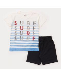 Conjunto de Verão para Menino Blusa Marfim Surf e Short Moletinho Preto
