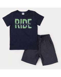 Conjunto Infantil Masculino Blusa Marinho Estampada Bermuda Jeans