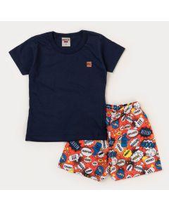 Conjunto Curto Infantil Menino Blusa Marinho e Short Laranja Estampado