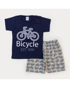 Conjunto de Verão Menino Blusa Marinho Bicicleta Bermuda Mescla Moletinho