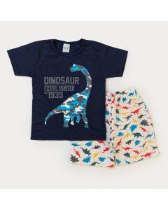 Conjunto Verão Menino Blusa Marinho Dinossauro e Bermuda Marfim Moletinho