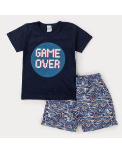 Conjunto Curto com Blusa Marinho Game para Menino e Bermuda Estampada