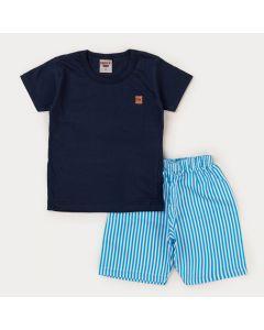 Conjunto de Verão para Menino Blusa Marinho e Short Listrado Azul