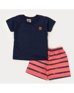 Conjunto de Verão Infantil para Menino Blusa Marinho e Short Laranja Listrado
