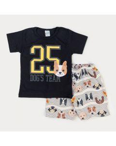 Conjunto para Menino Verão Blusa Preta Numeral e Bermuda Cachorro em Moletinho