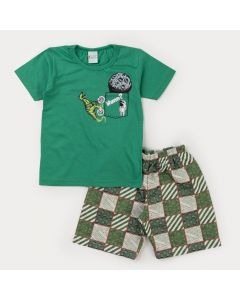 Conjunto de Verão para Menino Blusa Verde Astronauta e Bermuda Estampada