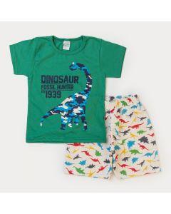 Conjunto de Verão Menino Dinossauro Blusa Verde e Bermuda Marfim Moletinho