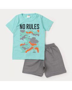 Conjunto Infantil Masculino de Verão Blusa Verde Estampada Bermuda Cinza Moletinho