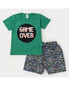 Conjunto Curto com Blusa Verde Game para Menino e Bermuda Estampada