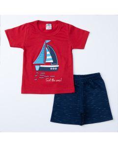 Conjunto de Verão Menino Blusa Vermelha Barco e Short Marinho