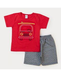 Conjunto Verão Menino Blusa Vermelha Kombi e Bermuda Cinza Moletinho Estampada