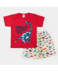 Conjunto de Verão para Menino Blusa Vermelha Dinossauro e Bermuda Marfim Moletinho
