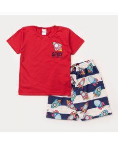 Conjunto de Verão Infantil Masculino Blusa Vermelha e Bermuda Estampada Foguete