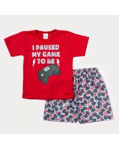 Conjunto de Verão para Menino Blusa Vermelha Game e Bermuda Cinza Estampada