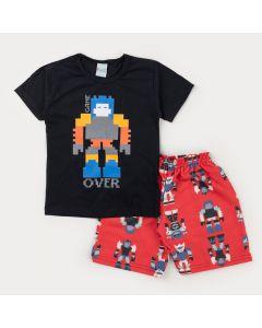 Conjunto de Verão para Menino Blusa Preta Robô e Bermuda Vermelha Estampada