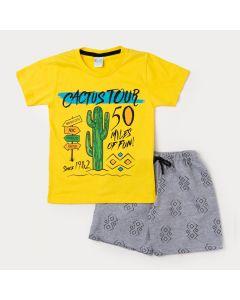 Conjunto Curto Infantil Masculino Camiseta Amarela Cacto e Bermuda Cinza